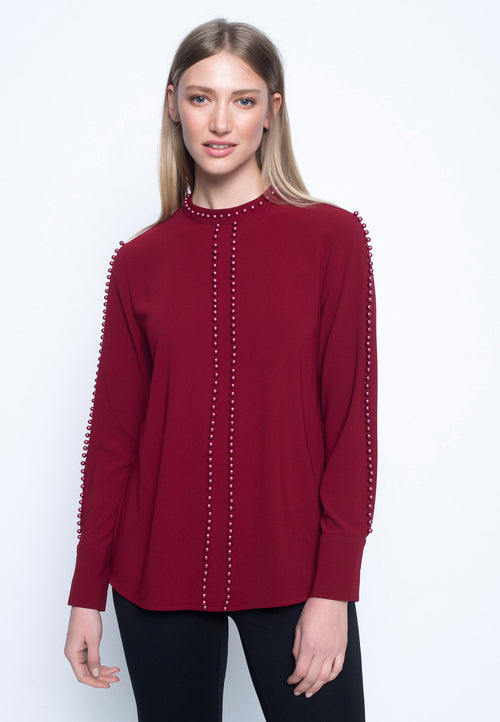 Pearl Embellished Long Sleeve Blouse