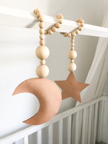 Luxe Leather Moon Loves Star Garland