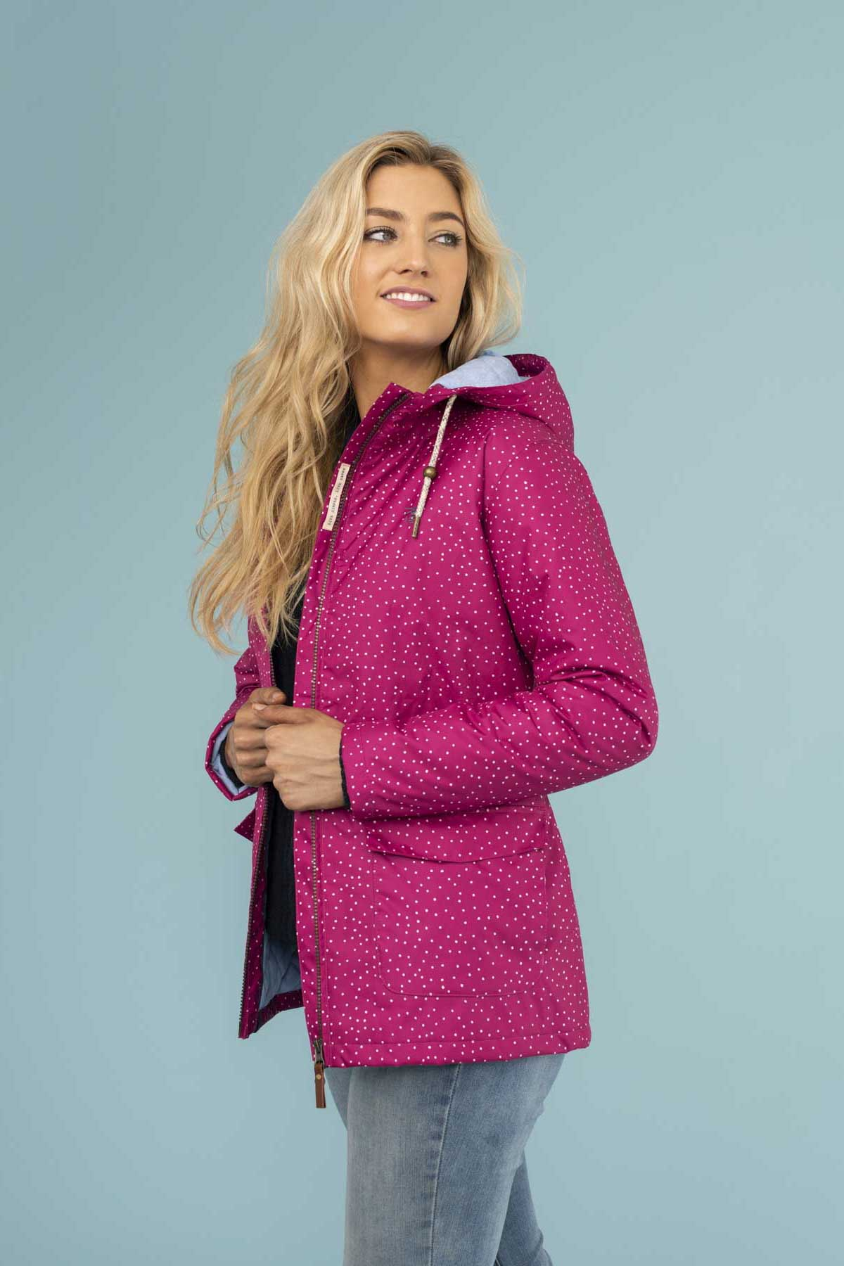 Aria Coat. Womens Raincoat in Purple Dot | Lighthouse