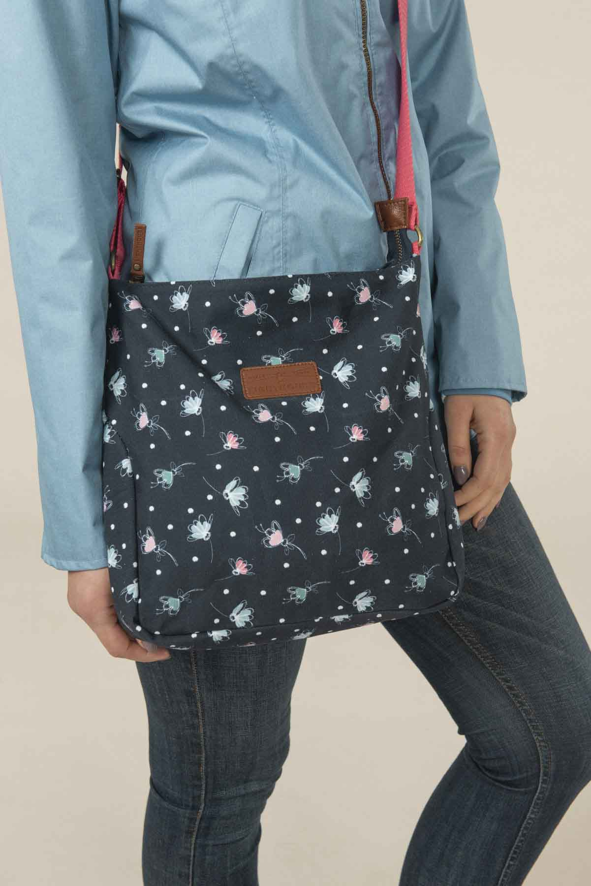 Women's Accessories - Navy patterned cross over body bag