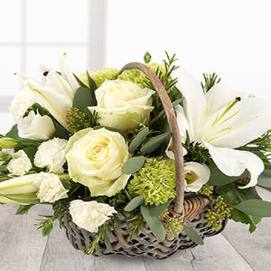 Bramdean -  Basket of Flowers White Roses / Lily