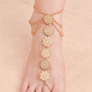 Vintage Carving Beach Coined Anklet