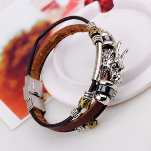2016 Tibetan Silver Men's Leather Bracelet