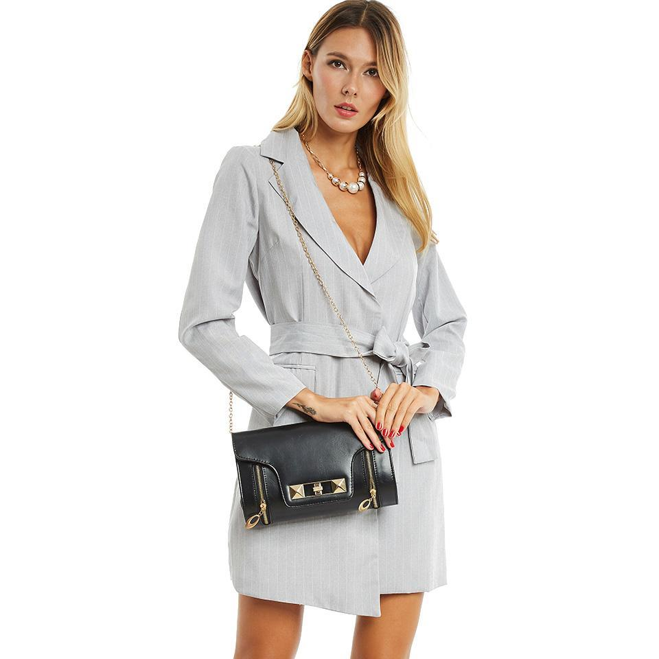 Grey Trench Turn Down Collar OverCoat