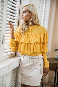 Ruffles White Long Sleeve Blouse