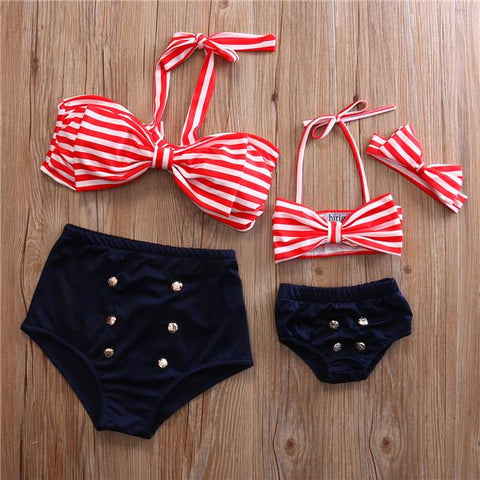Mommy and me matching mom and baby Pin up stripe up stripe swimsuit