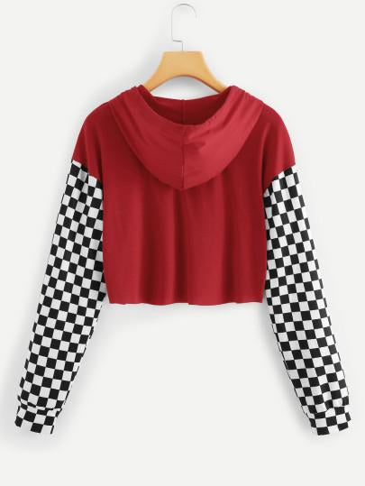 Checkered color hoodie crop sweatshirt