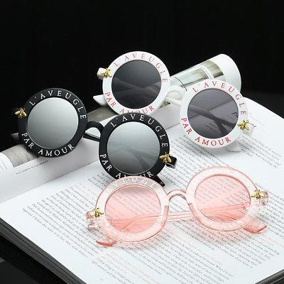 """French Connection"" Classic letter round frame retro sunglasses"