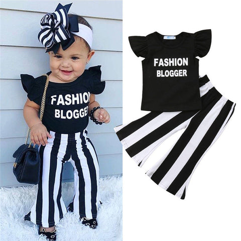 Baby fashion blogger retro ruffle top bell pants 2pcs toddler baby outfit