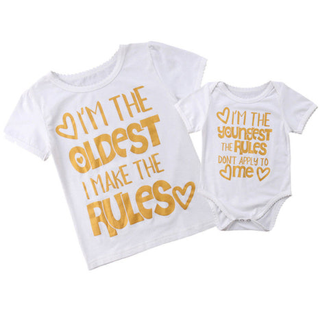 Matching big sister little sister rules printed tshirt