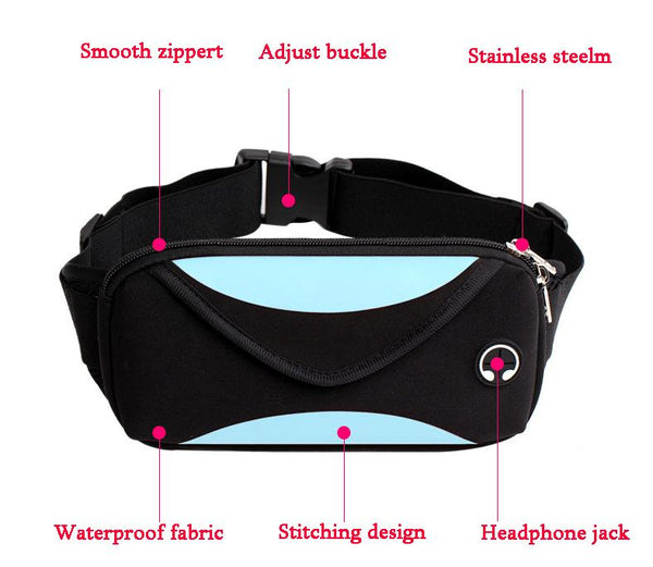 """Iconic fitness"" headphone port travel casual workout fannypack"