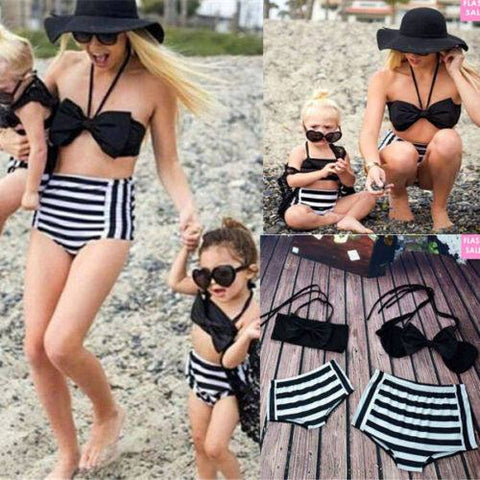 Vintage bow style Mommy and me baby matching 2 piece swimwear