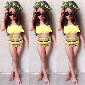 Kids bow tribal style 2 piece girls swimsuit