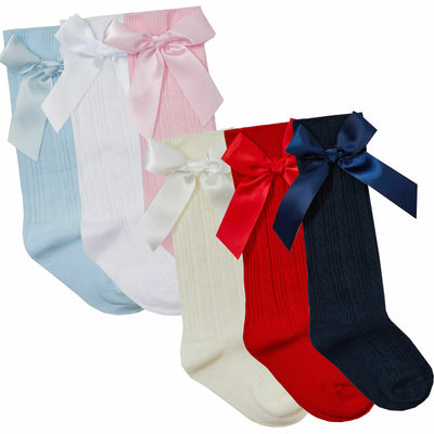 3 x Baby Knee High Socks Girl Cotton Rich with Bow