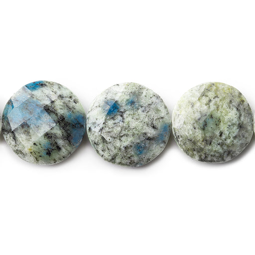 "16mm K2 Azurite Granite ""K2 Jasper"" faceted coin beads 8 inches 13 pieces"