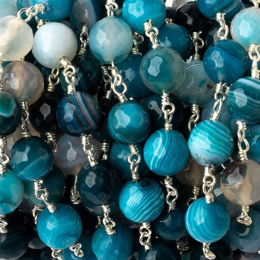 8mm Multi-tonal Blue Banded Agate faceted round Silver plated Chain by the foot 22 pieces