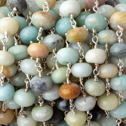 8-9mm Multi Color Amazonite plain rondelle Silver plated chain by the foot 24 pcs