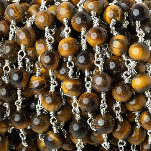 6.5mm Tiger's Eye plain round Silver plated Chain by the foot 24 pieces
