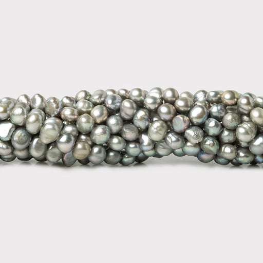 4-5mm Silver Baroque Freshwater Pearls, 15 inch