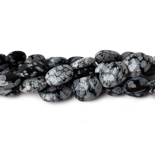 10mm Snowflake Obsidian Faceted Oval Nugget Beads, 8 inch