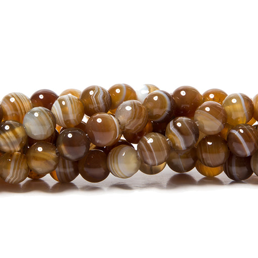 6mm Brown Madagascar Agate plain rounds 15 inch 63 Beads