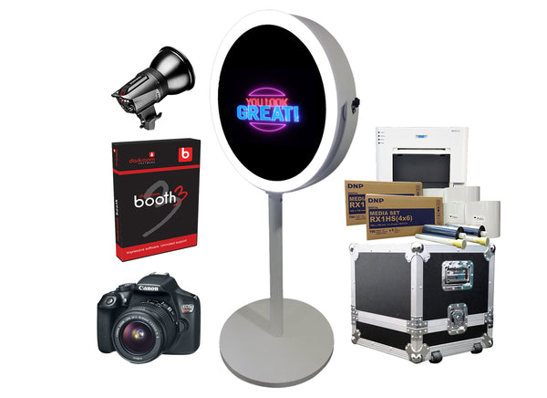 PMB-500 Round Mirror Booth Premium Package - Portable Mirror Booth