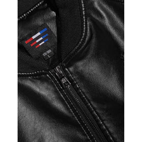Men Solid Embroidery PU Jacket