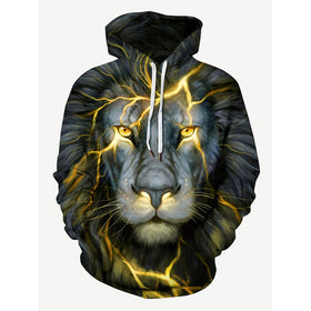 Men 3D Lion Print Hooded Sweatshirt