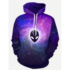 Men 3D Galaxy And Ghost Print Hooded Sweatshirt