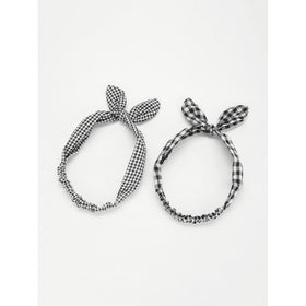 Knotted Bow Plaid Headband 2pcs