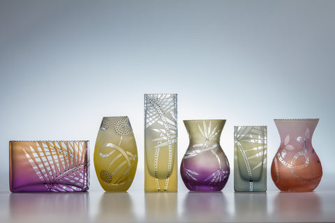 "Mary-Melinda Wellsandt - Big Tiny Vases in Sunset, 3.5-5"" tall"