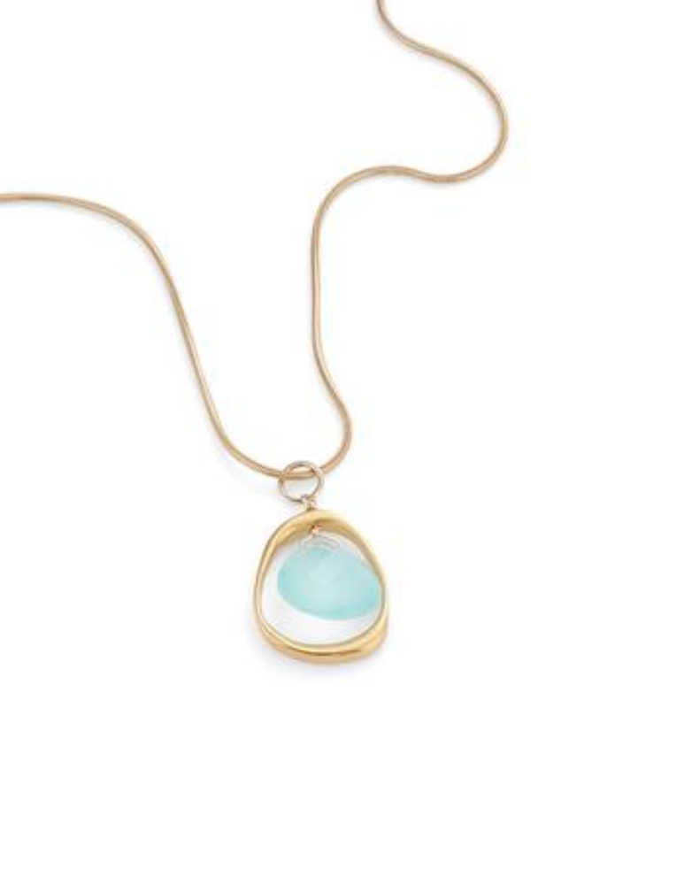 Philippa Roberts open circle chalcedony necklace in vermeil