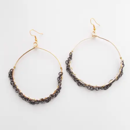 Outburst earrings in gold
