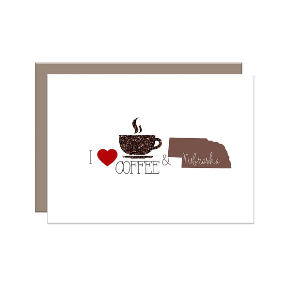 I Love Coffee & {Your State Here} Greeting Cards
