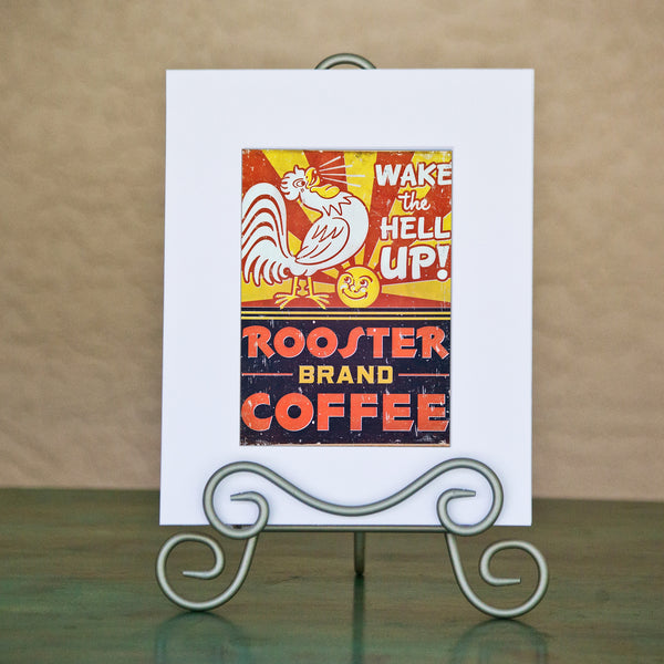 ROOSTER COFFEE Matted Art Print
