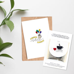 Card + Coffee - Happy Birthday Balloons