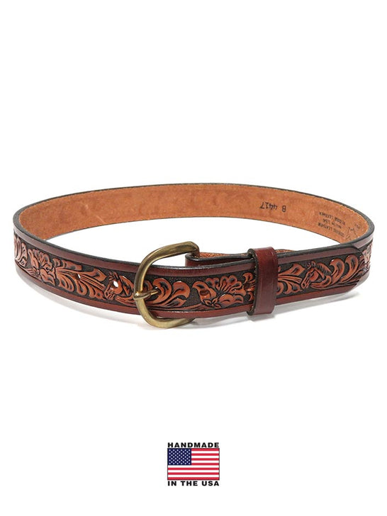 Tony Lama Kids Western Floral Embossed Leather Belt B4417