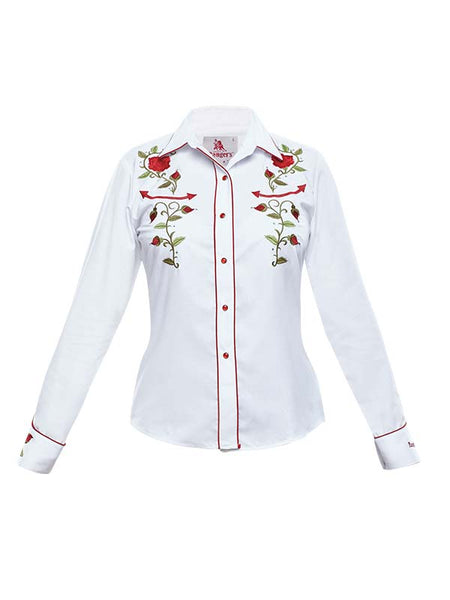 Front view of Rangers Ladies Floral Embroidery Vaquera Western Shirt 060DA01 White