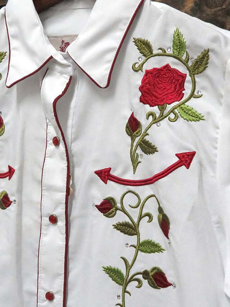 Rangers Ladies Floral Embroidery Vaquera Western Shirt 060DA01 White