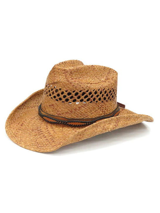 Shady Brady Laced Leather Hat Band Crushable Straw Hats 1WW90 FRONT