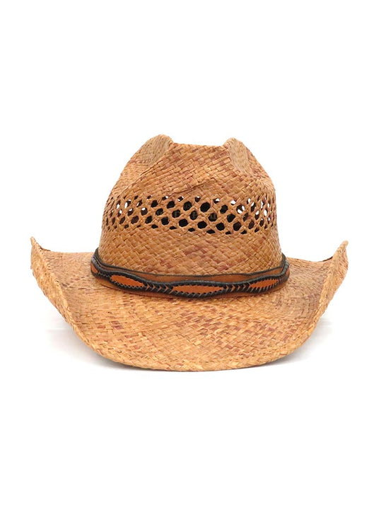 Shady Brady Laced Leather Hat Band Crushable Straw Hats 1WW90 AT JC WESTERN