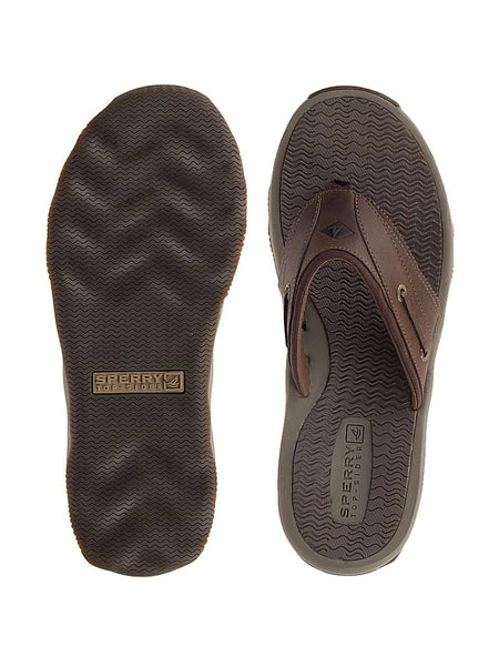 Men's Sperry Brown Outer Banks Thong Sandal STS17566 Top and Bottom
