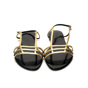 3015 LEATHER FLAT SANDALS, GOLD