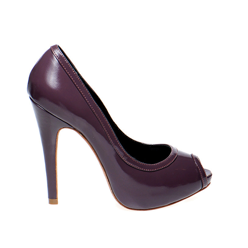 3080B PATENT LEATHER OPEN TOE HEELS, PURPLE