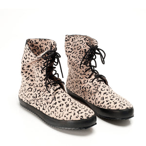 J537 LEOPARD COTTON HIGH TOP SNEAKERS, PINK/BLACK