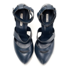 J523 LEATHER PUMPS, NAVY