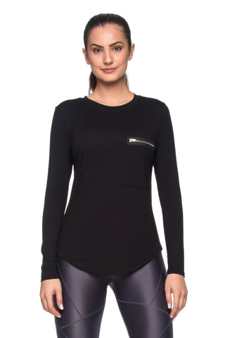 Perfect Basic Zip Tee Long Sleeve - Black