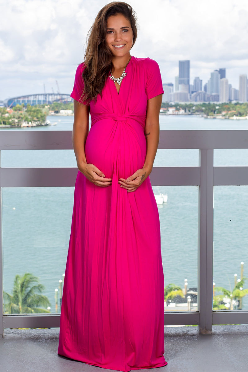 Hot Pink Maxi Dress with Twist Front