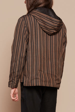 Brown Stripe Poncho Pullover