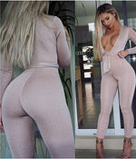 Bandage Jumpsuit Deep V-Neck
